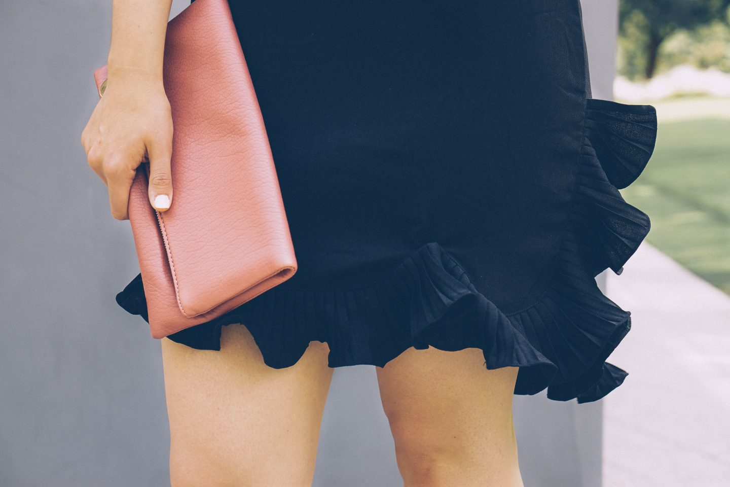 LBD ruffles date night StyleWe blush clutch Happily Lindsey