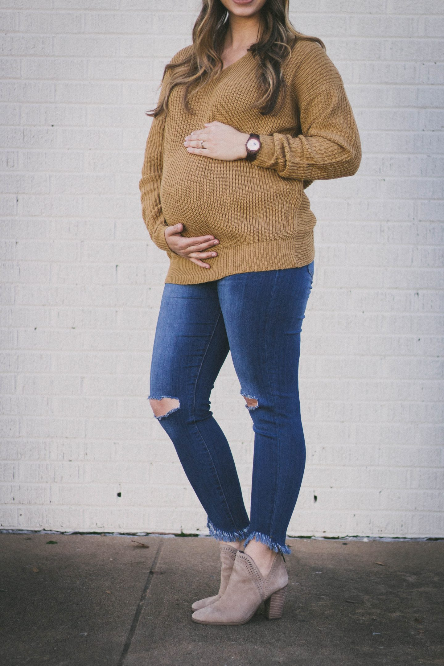 maternity sweater jeans bump update Pink Blush Happily Lindsey
